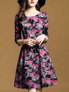 Nice Floral Imprint Round Neck Women's Skater Dress