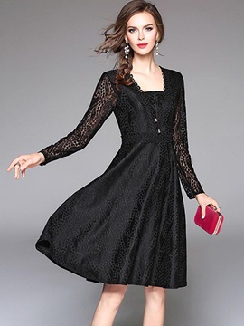 Best Solid Color Long Sleeve Women's Skater Dress