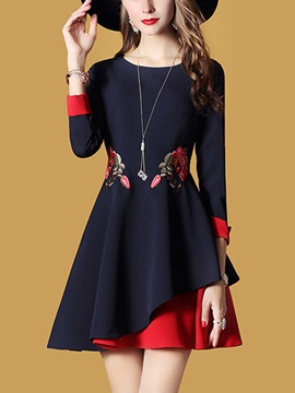 Chic Round Neck Long Sleeve Women's Skater Dress