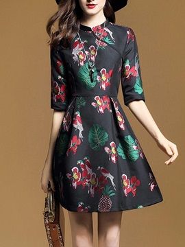 Nice Half Sleeve Floral Imprint Women's Skater Dress