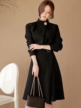 Chic Black Long Sleeve Women's Skater Dress