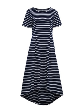Stripe Short Sleeve High-Low Women's Skater Dress