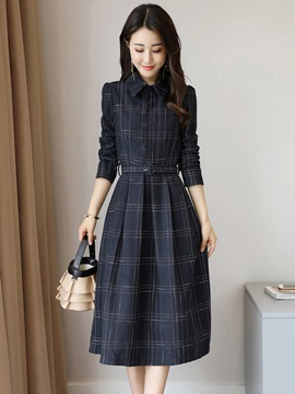 Lapel Plaid Long Sleeve Women's Skater Dress