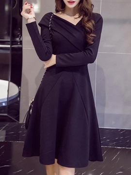 Oblique Collar Long Sleeve Plain Women's Skater Dress