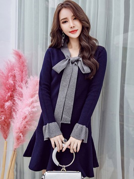 Bow Collar Flare Sleeve Women's Sweater Skater Dress