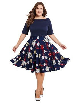 Floral Print Patchwork Half Sleeve Plus Size Women's Skater Dress