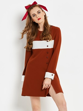 Color Block Long Sleeve Bead Women's Skater Dress