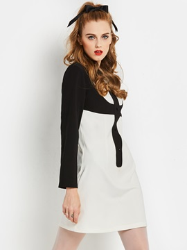 Black & White Long Sleeve Women's Day Dress