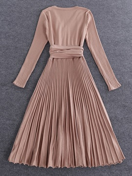 V-Neck Pleated Long Sleeve Lace-Up Women's Sweater Dress