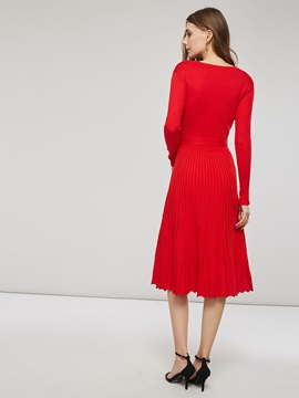V-Neck Pleated Lace-Up Women's Sweater Dress