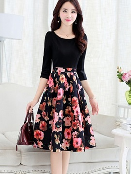 Floral Print Patchwork 3/4 Sleeve Pleated Women's Skater Dress