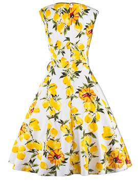 Knee-Length Floral Bowkhot Sleeveless Women's Skater Dress