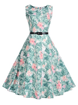 Tidebuy Floral Print Sleeveless Round Neck Women's Skater Dress