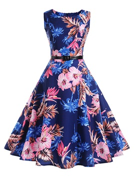 Tidebuy Floral Round Neck Sleeveless Women's Skater Dress
