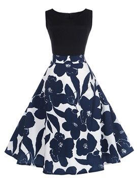 Tidebuy Above Knee Round Neck Patchwork Women's Skater Dress
