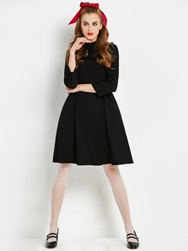 Polyester Long Sleeve Women's Black Skater Dress