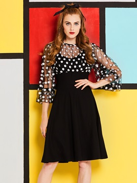 Tidebuy Cotton Polka Dots Women's A-Line Dress