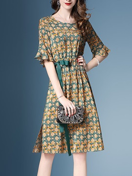 Tidebuy Lace-Up Print Pullover Women's A-Line Dress