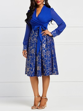 Long Sleeve V Neck Women's Floral A-Line Dress