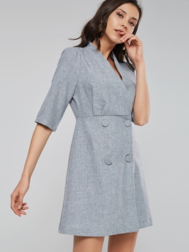 Lapel Double-Breasted Women's Day Dress