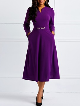 Long Sleeve Pocket England Women's  Dress