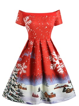 Christmas Patchwork Slash Neck Regular Women's Skater Dress