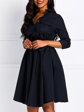 Three-Quarter Sleeve Pleated Plain Women's A-Line Dress