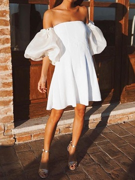 Half Sleeve Above Knee Pleated Pullover Women's A-Line Dress