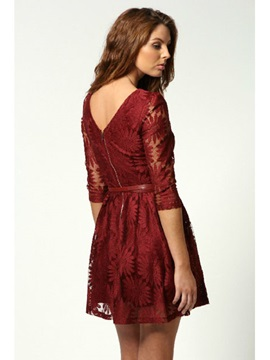 Luxurious Polyester Fiber Long Sleeves Lace Sunflowers Dress