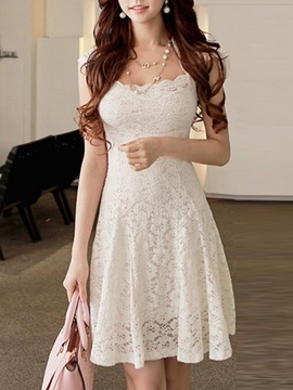 Solid Color Cape Sleeve Lace Dress