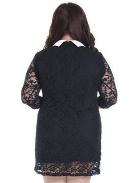 Contrast Lapel Plus Size Lace Dress