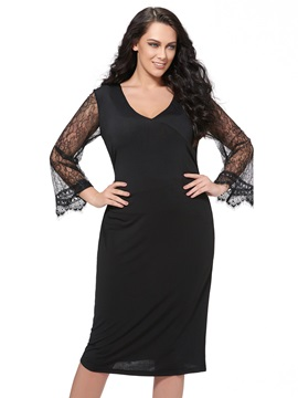 Lace Long Sleeve Plus Size Dress