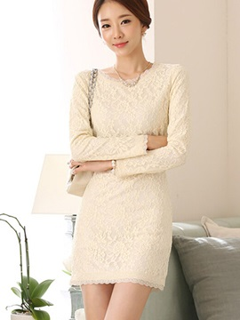 Solid Lace Sheath Dress