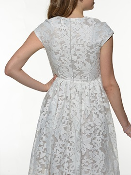 Round-Neck Lace Back-Zip Dress