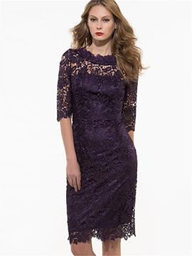 Floral Print Half Sleeve Embroidery Lace Dress