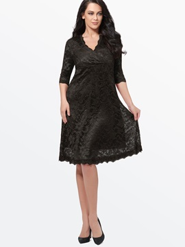 Plain V Neck 3/4 Sleeve Lace Dress