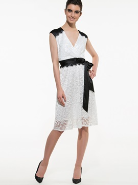 Contrast V Neck Sleeveless Lace Dress