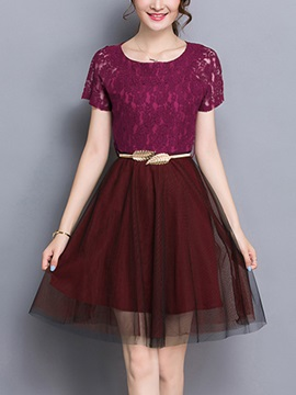 A-Line Knee-Length Lace Dress With Belt