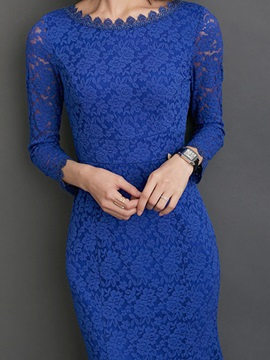Solid Color Backless Mermaid Lace Dress