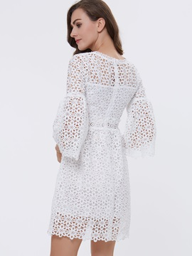 Chic Round Neck Flare Sleeve Lace Dress