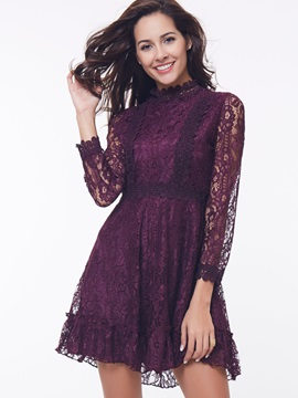 Chic Stand Collar Nine Points Sleeve Lace Dress