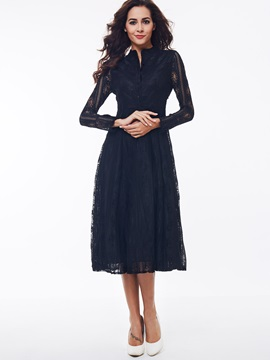 Solid Stand Collar Hollow Lace Dress
