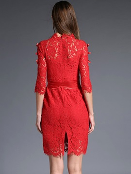 Floral Print Hollow Half Sleeve Lace Dress