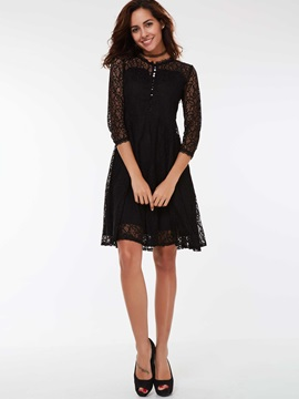 3/4 Sleeve Button Patchwork Lace Dress