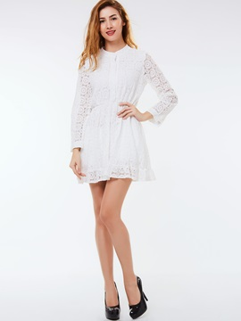 Floral Print Single-Breasted A-Line Lace Dress