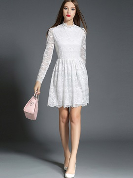 Stand Collar Zipper Hollow Lace Dress