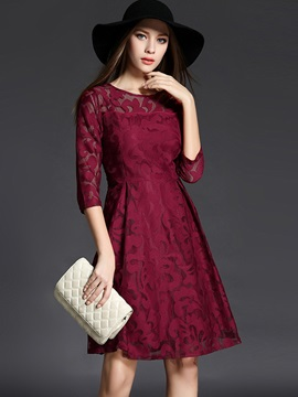 3/4 Sleeve Mesh Patchwork Lace Dress