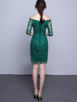 Slash Neck Half Sleeve Hollow Lace Dress