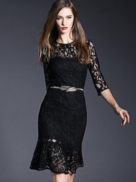 Solid Color Mermaid Hollow Lace Dress