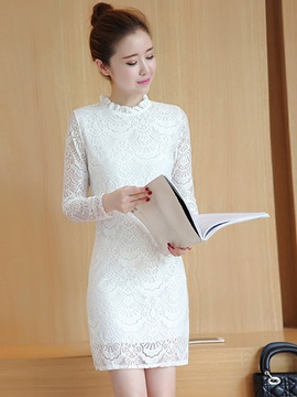 Stand Collar Falbala Patchwork Lace Dress